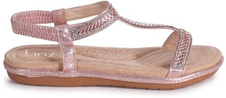 Linzi CHARLINE - Rose Gold Sandal With Padded Footbed & Diamante T-Bar