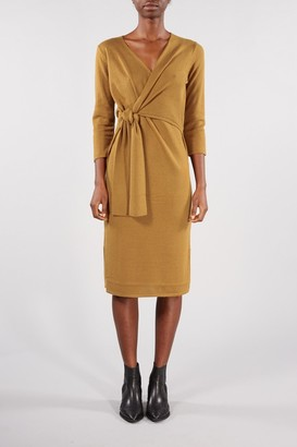 Selected BRONZE BROWN NAYA WRAP DRESS - XSMALL