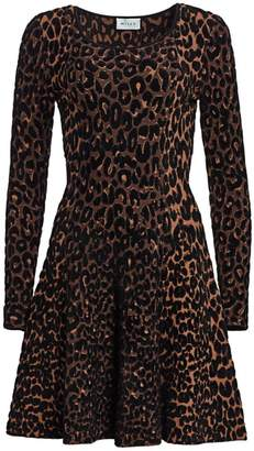 Milly Textured Cheetah Print Fit & Flare Dress