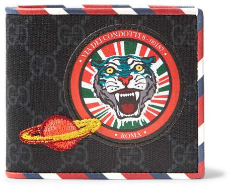 Gucci Stripe-Trimmed Appliquéd Monogrammed Canvas Billfold Wallet