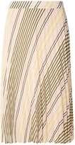 Dorothy Perkins Nude Stripe Pleat Midi Skirt