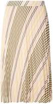 Nude Stripe Pleat Midi Skirt