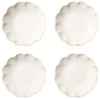AERIN 4-Piece Scalloped Appetizer Plate Set