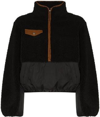 Frame Contrasting-Panel Zip-Up Fleece Jacket