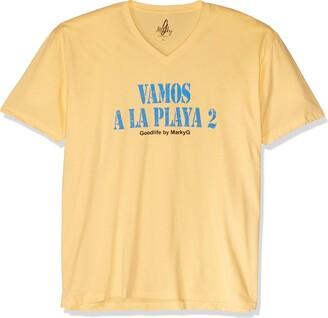 Marky G Apparel Men's Vamos A La Playa 2 Graphic Sueded V-Neck T-Shirt