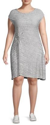 Max Studio Plus Striped Jersey Dress