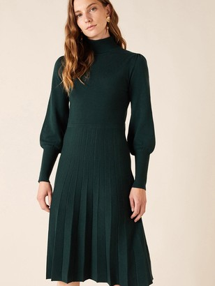 Monsoon Recycled Polyester Pointelle Yoke Dress - Green