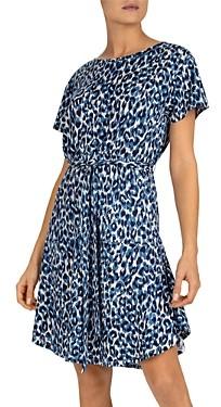 Gerard Darel Santana Animal Print Linen Dress