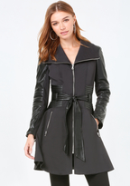 Bebe Faux Leather Trim Moto Coat
