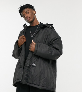 Collusion coach jacket with duffle details in black