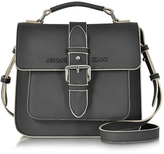 Armani Jeans Black Signature Eco Leather Square Crossbody Bag