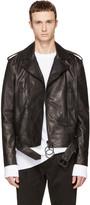 Off-White Black Leather Brushed Biker Jacket