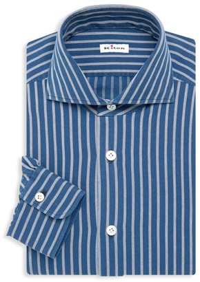 Kiton Contemporary-Fit Stripe Cotton Dress Shirt