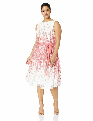 Gabby Skye Women's Plus Size Floral Printed Fit and Flare Belted Dress