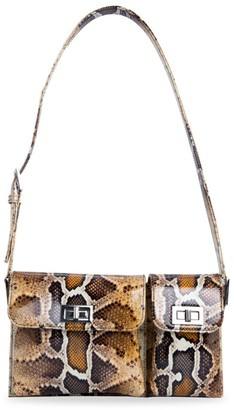 BY FAR Billy Snakeskin-Embossed Patent Leather Shoulder Bag