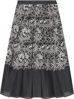 Tibi Embroidered Cut-out Party Full Skirt