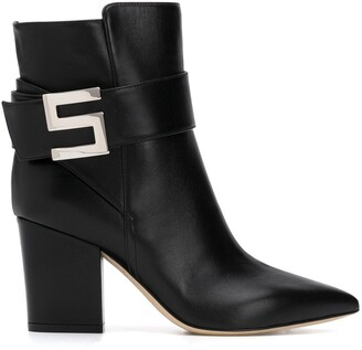 Sergio Rossi Logo Buckle Ankle Boots