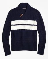 Brooks Brothers Texture Stitch Chest Stripe Shawl Collar Sweater
