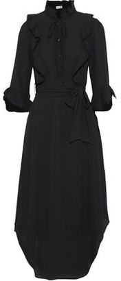 Mikael Aghal Belted Ruffle-trimmed Crepe De Chine Midi Dress