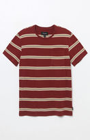 Brixton Hilt Indigo Burgundy Striped Pocket T-Shirt