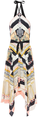 Temperley London Obelisk Asymmetric Printed Woven Midi Dress