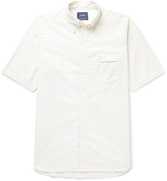 Drakes Button-Down Collar Striped Cotton Oxford Shirt
