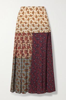 Chloé Patchwork Paisley-print Silk Crepe De Chine Midi Skirt - Burgundy