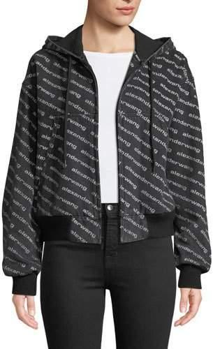 Alexander Wang Logo-Print Hooded Bomber Jacket