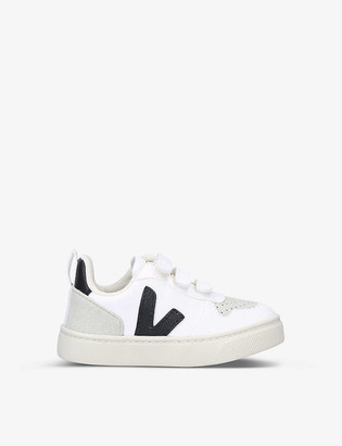 Veja V-10 logo-applique coated-cotton low-top trainers 2-5 years