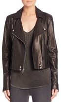 Paige Roxanna Cropped Leather Moto Jacket