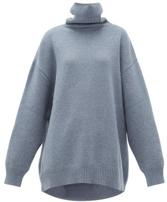Raey Displaced-sleeve Roll-neck Wool Sweater - Blue