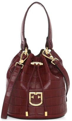 Furla Mini Corona Drawstring Croc-Embossed Leather Bucket Bag