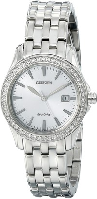 Citizen Watch Silhouette Crystal Women's Quartz Watch with White Dial Analogue Display and Silver Stainless Steel Gold Plated Bracelet EW1901-58A