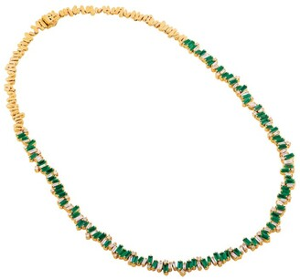 Suzanne Kalan White Gold, Diamond and Emerald Fireworks Necklace