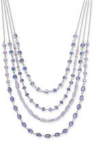 "INC International Concepts I.n.c. Silver-Tone Stone Multi-Layer Statement Necklace, 16"" + 3"" extender, Created for Macy's"