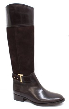 """Tory Burch Tenley"""" Brown Leather and Suede Riding Boot"""