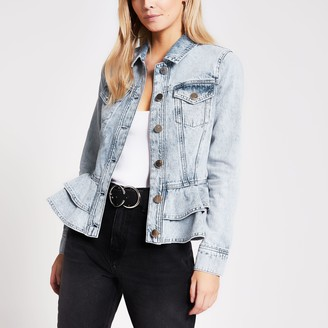 River Island Womens Petite Blue frill hem fitted denim jacket