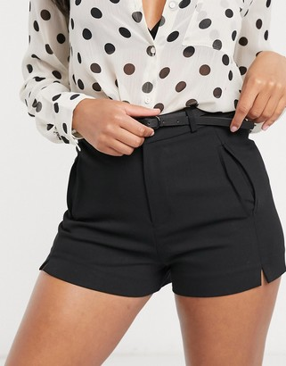 Stradivarius dressy short with faux leather belt in black