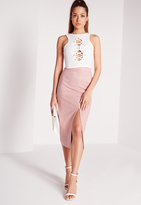 Missguided Tall Split Front Longline Faux Suede Midi Skirt Lilac Ash