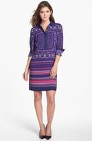 Adrianna Papell Engineered Print Shirtdress