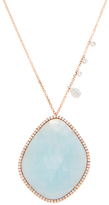 Meira T 14K Rose Gold, Milky Aqua & 0.87 Total Ct. Pave Diamond Pendant Necklace