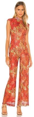 Kim Shui Red Lace Jumpsuit
