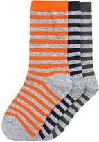 Joe Fresh Kid Boys' 3 Pack Stripe Crew Socks, Grey (Size 3-6)