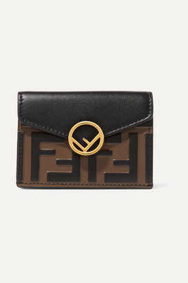 Fendi Embellished Embossed Leather Wallet - Black