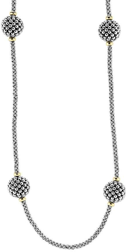 Lagos Sterling Silver Beaded Necklace with Caviar Stations, 32""