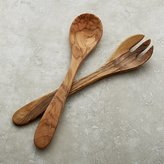 Crate & Barrel Olivewood 2-Piece Salad Serving Set