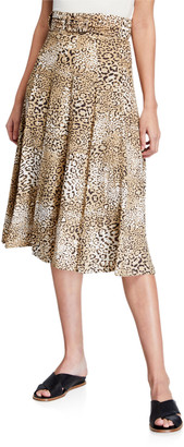 Faithfull The Brand Luda Leopard-Print Midi Skirt