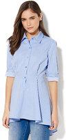 New York & Co. 7th Avenue - Madison Stretch Shirt Peplum Hem - Stripe