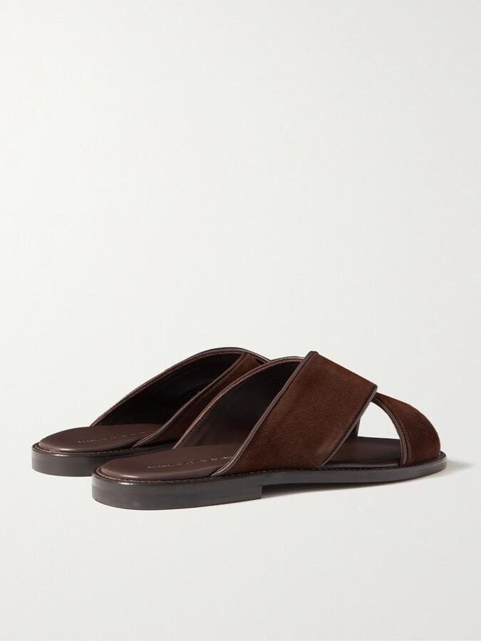 Thumbnail for your product : Manolo Blahnik Otawi Leather-Trimmed Suede Sandals