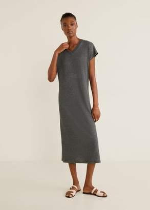 MANGO Ribbed jersey dress medium heather grey - 6 - Women